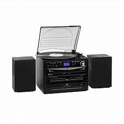 Auna 388-DAB+, stereo systém, 20 W max., platne, CD, kazety, BT, FM/DAB+, USB, SD, čierny