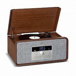 Auna Bella Ann, stereo systém, gramofón, rádio, DAB+/FM, USB, bluetooth, hnedý