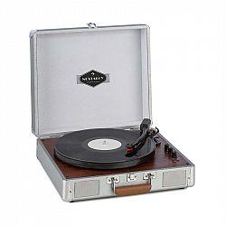 Auna Billy Bob, gramofón s BT, stereo reproduktor, bluetooth, strieborný