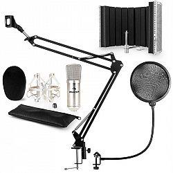 Auna CM001S mikrofónová sada V5 kondenzátorový mikrofón, mikrofónové rameno, pop filter, panel, strieborná farba