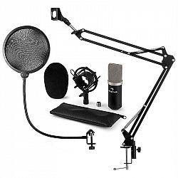 Auna CM003 mikrofónová sada V4 kondenzátorový mikrofón XLR mikrofónové rameno pop filter čierna farba