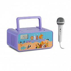 Auna Kidsbox Zoo, CD boombox, CD prehrávač, BT, USB, LC displej, zvieratá, fialový