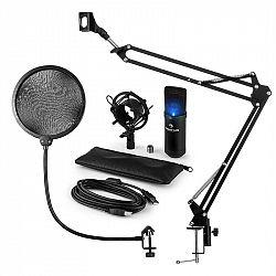 Auna MIC-900B-LED, USB mikrofónová sada V4, čierna, kondenzátorový mikrofón, pop filter, mikrofónové rameno, LED
