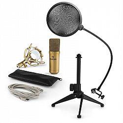 Auna MIC-900G-LED V2, trojdielna USB mikrofónová sada, kondenzátorový mikrofón + pop-filter + stolný statív