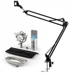 Auna MIC-900S-LED USB mikrofónová sada V3 kondenzátorový mikrofón + mikrofónové rameno LED strieborná farba