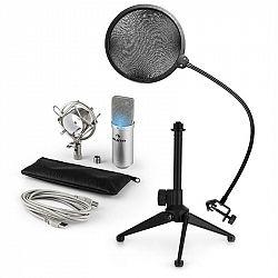 Auna MIC-900S-LED V2, trojdielna USB mikrofónová sada, kondenzátorový mikrofón + pop-filter + stolný statív