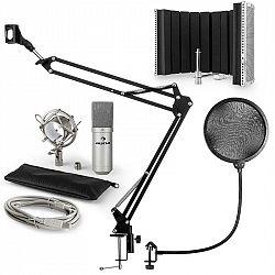 Auna MIC-900S, USB mikrofónová sada V5, strieborná, kondenzátorový mikrofón, pop filter, akustická clona, rameno