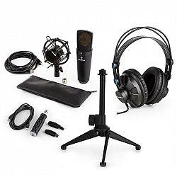 Auna MIC-920B USB mikrofónová sada V2 - slúchadlá, kondenzátorový mikrofón, mikrofónový stojan, pop filter