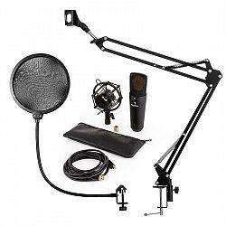 Auna MIC-920B, USB mikrofónová sada V4, čierna, kondenzátorový mikrofón, mikrofónové rameno, pop filter