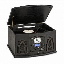 Auna NR-620, DAB, stereo systém, drevo, gramofón, DAB+, prehrávač CD, čierny