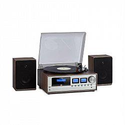 Auna Oxford, retro stereo systém, DAB+/FM rádio, BT funkcia, vinyl, CD, AUX, tmavosivý