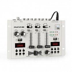 Auna Pro DJ-22BT, MKII, mixér, 3/2 kanálový-DJ-mixážny pult, BT, 2xUSB, montáž na rack, biely