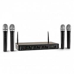 Auna Pro Duett Quartett Fix V1, 4-kanálový UHF bezdrôtový mikrofónový set, dosah 50 m
