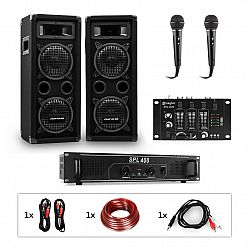 Auna Pro PW-65x22 MKII, PA karaoke sada, zosilňovač, 2 pasívne PA reproduktory, mixér, 2 mikrofóny