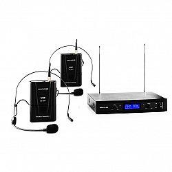 Auna Pro VHF-400 Duo 2, 2-kanálová sada VHF bezdrôtových mikrofónov, 1 x prijímač, 2 x headset mikrofón