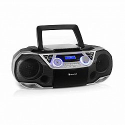 Auna Roadie 2K, boombox, CD prehrávač, kazetové rádio, DAB/DAB+, UKW, bluetooth, strieborný