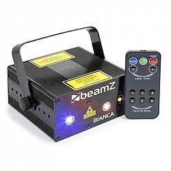 Beamz Bianca, dvojitý laser, 7 DMX kanálov, 330 mW RGB, 12 motívov, master/slave