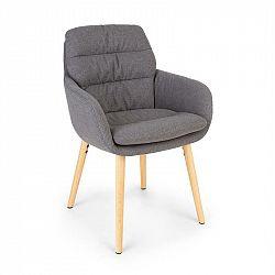 Besoa Doug, čalúnená stolička, penová výplň, polyester, drevené nohy, tmavosivá