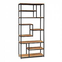 Besoa Lens, regál, agátové drevo, železná kostra, 9 úrovní, 85 x 190,5 x 35 cm, drevo