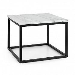 Besoa Volos T50, konferenčný stolík, 50 x 40 x 50 cm, mramor, interiér & exteriér, čierny/biely