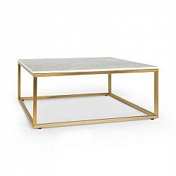 Besoa White Pearl II, konferenčný stolík, 81,5x35x81,5cm (ŠxVxH), mramorový vzhľad, zlatý/biely