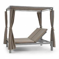 Blumfeldt Eremitage Double Sunbed, ležadlo pre 2 osoby, oceľový rám, slnečná strieška, závesy, taupe