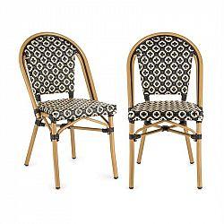 Blumfeldt Montbazin BL, bistro stolička, možnosť ukladať stoličky na seba, hliníkový rám, polyratan, čierno-krémová