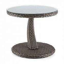 Blumfeldt Tabula, odkladací stolík, 50 cm, sklo, polyratan, hliník, dvojfarebný antracit