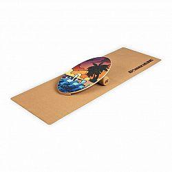 BoarderKING Indoorboard Allrounder, balančná doska, podložka, valec, drevo/korok, červená