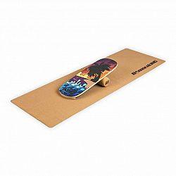 BoarderKING Indoorboard Classic, balančná doska, podložka, valec, drevo/korok, červená