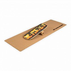 BoarderKING Indoorboard Classic, balančná doska, podložka, valec, drevo/korok, žltá