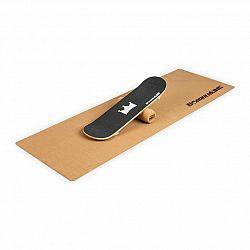 BoarderKING Indoorboard Skate, balančná doska, podložka, valec, drevo/korok, čierna