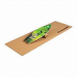 BoarderKING Indoorboard Wave, balančná doska, podložka, valec, drevo/korok, zelená