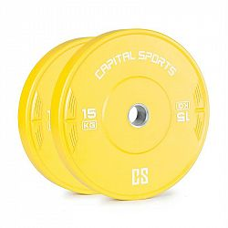 Capital Sports Nipton 15, kotúč, závažie, 2 x 15kg, tvrdená guma, žltý