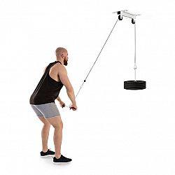 KLARFIT Hangman , kladka, stropná inštalácia, 2 m kábel, tricepsová tyč, biela farba