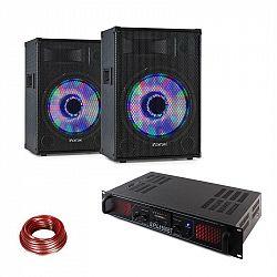 LED15BT, DJ PA sada, 2 x PA reproduktor Fenton, HiFi zosilňovač Skytec, reproduktorový kábel