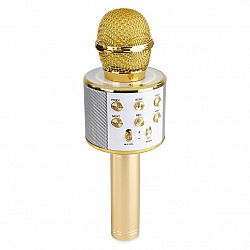 MAX KM01, 2 v 1 karaoke mikrofón, reproduktor, mediálny prehrávač, zlatý