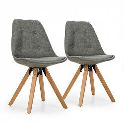 OneConcept Iseo, stolička, 2-dielna sada, polstrovaná PP-konštrukcia, brezové drevo, sivá farba