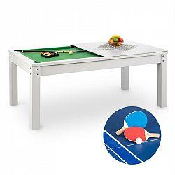 OneConcept Liverpool, 3-v-1, hrací stôl, 7' biliardový stôl, stôl na stolný tenis, jedálenský stôl, biely