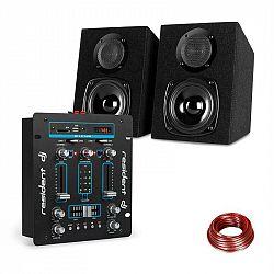 Resident DJ DJ-25, sada zariadení, DJ mixér + auna ST-2000, reproduktor, čierna/modrá