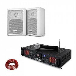 Skytec SPL 300 VHF, sada s PA zosilňovačom, 2 reproduktory, reproduktorový kábel, biela